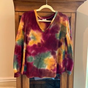 BiBi tie dye multicolored waffle knit top